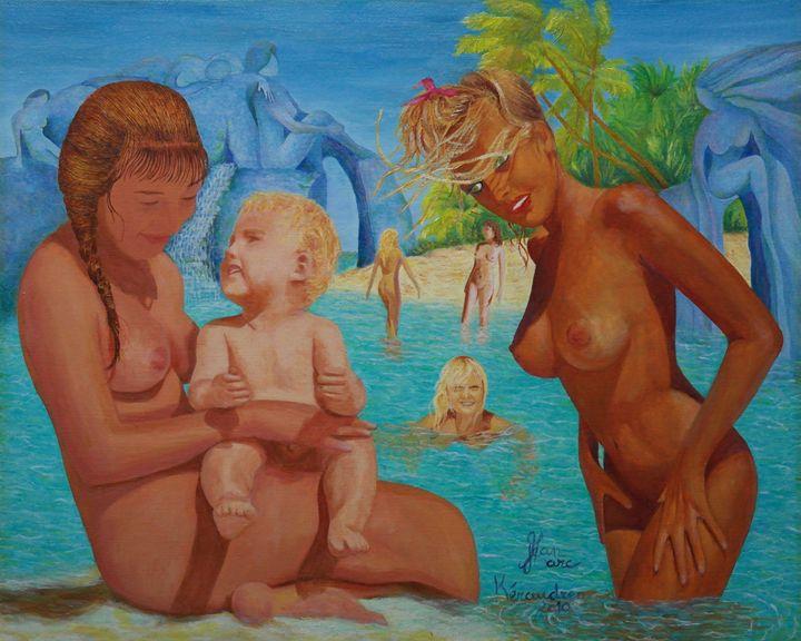 Les baigneuses au bébé. - jean-marc kéraudren
