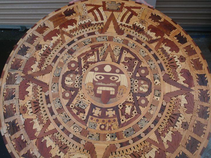 Mayan Calendar Mosaic - Wood Family Art