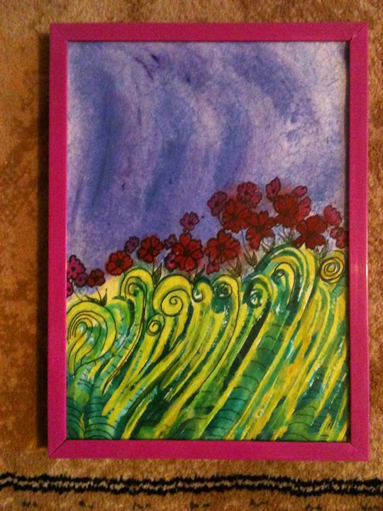 red flowers green fields - Art by Bobbi