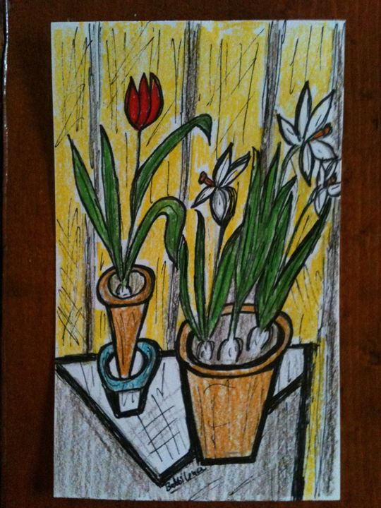 Ink and colored pencil index card - Art by Bobbi
