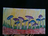 Ink and colored pencil on index card