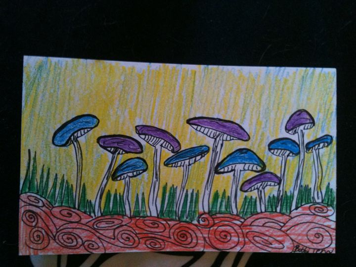 Ink and colored pencil on index card - Art by Bobbi