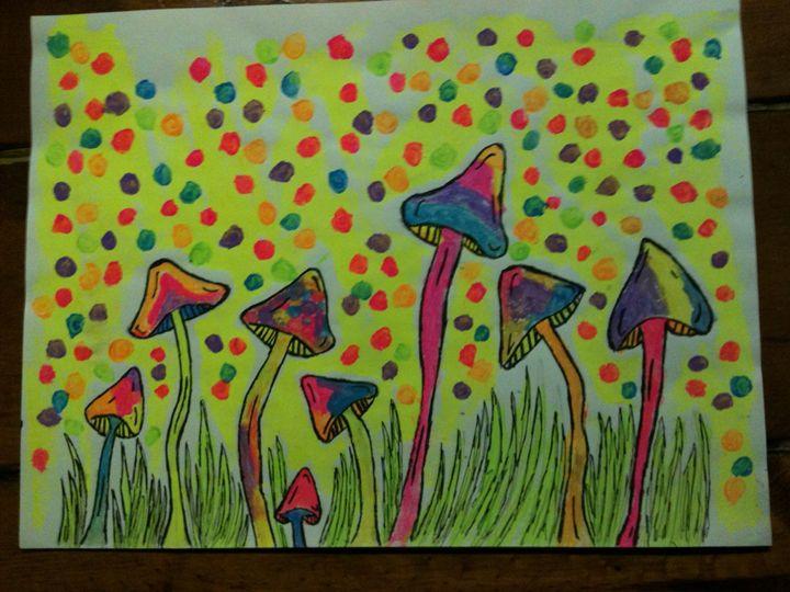blacklight art trippy shrooms - Art by Bobbi