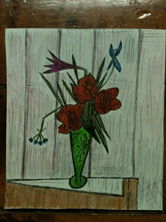 Flowers in vase - Art by Bobbi