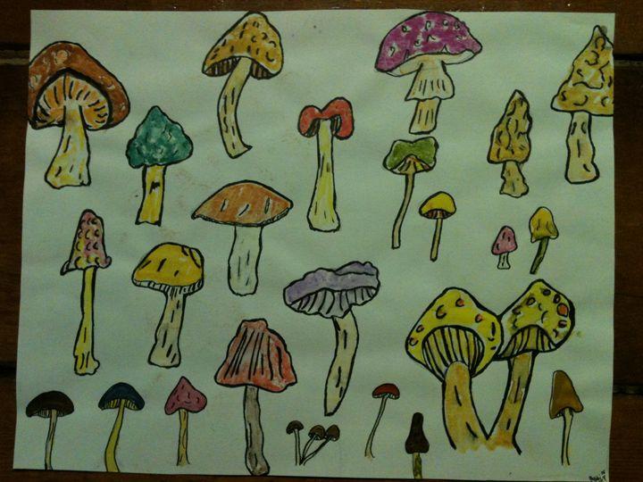 mushrooms - Art by Bobbi