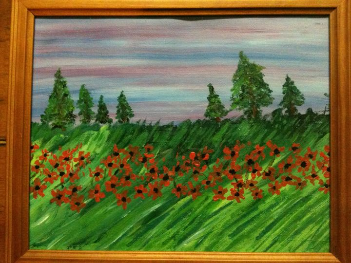 green field of poppies - Art by Bobbi