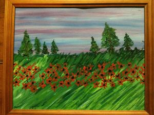 green field of poppies