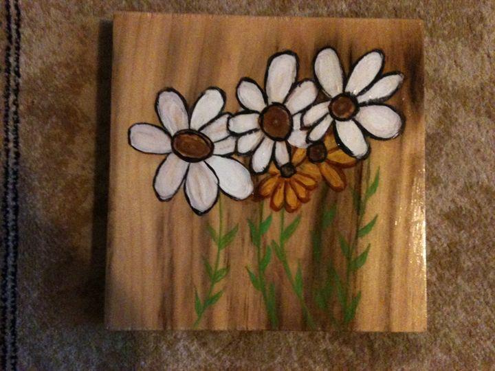 daises on wood - Art by Bobbi