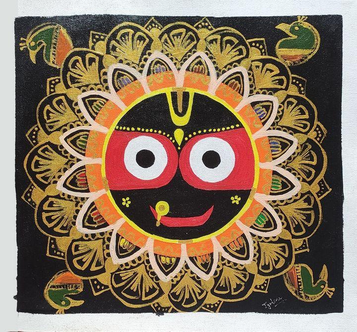 Lord jagannath face Canvas Painting - JoshArtistic