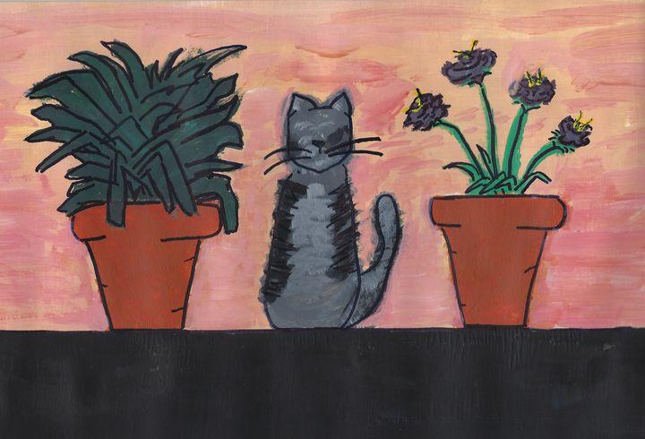 Housecat with Houseplants - Yacky Art