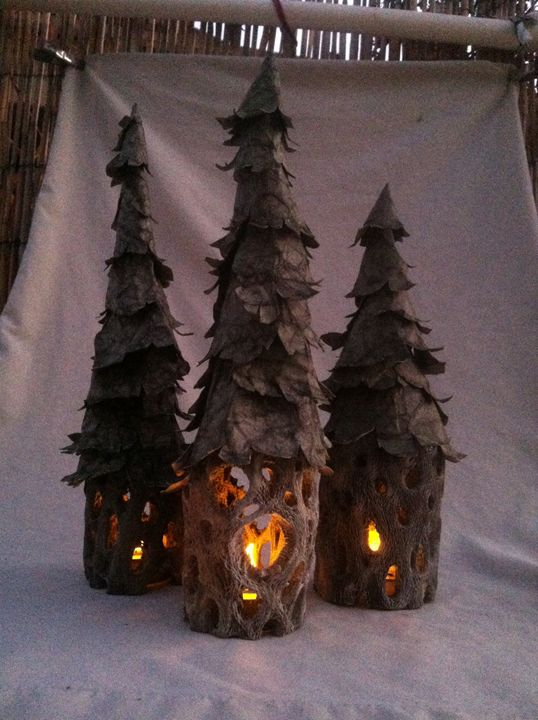 Flickering Lighted Trees Trio #2 - Canale Art