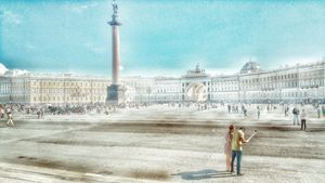 A couple on the Palace Square,