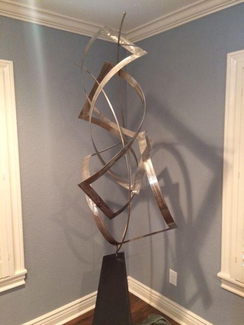 Brushed Steel Sculpture - Sculpture