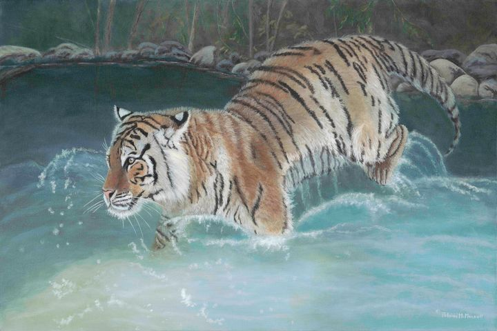 Taking the Plunge  (Siberian Tiger) - Patricia Mansell