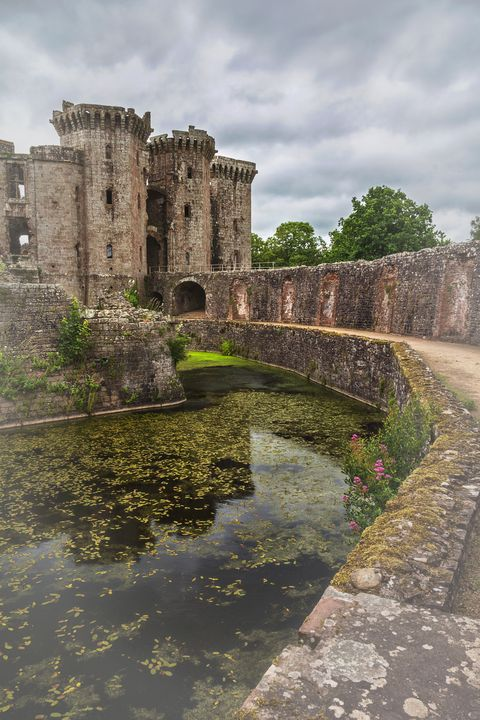 Pathway By The Castle Moat - Ian W Lewis