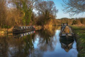 Narrow Boats At Woolhampton