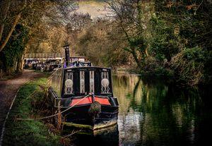 Moored Narrowboats At Newbury
