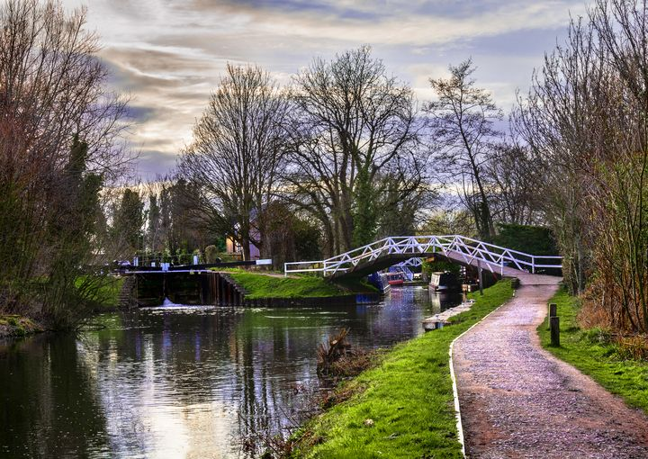 Footbridge By The Lock - Ian W Lewis