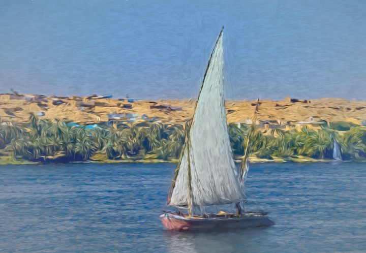 Egyptian Felucca On The Nile - Ian W Lewis