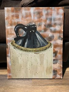 Abstract clay bottle