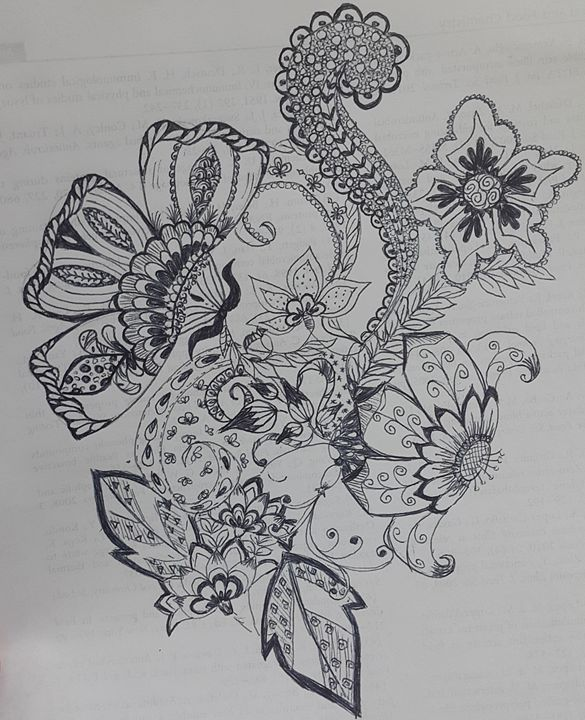 Zentangle Flowers Balkes Art Drawings Illustration Flowers