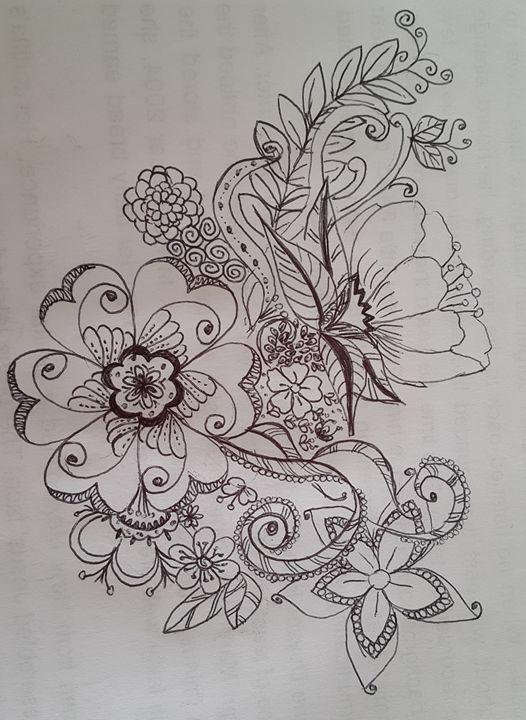 Flowers by black pen - Balkes-Art