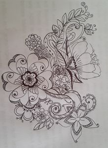 Flowers by black pen