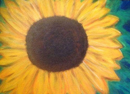 Sunflower on Teal - hawkARTS