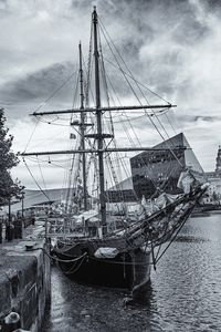 Brigantine Tall Ship Monochrome
