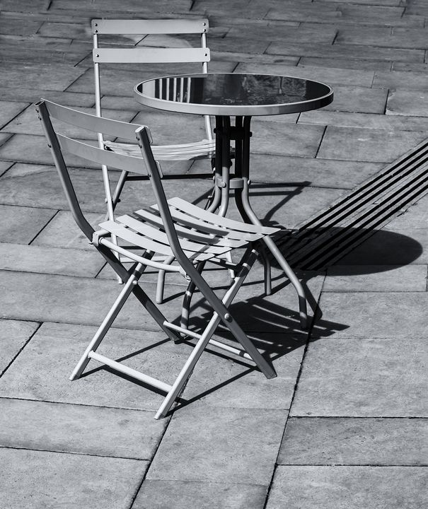 Pavement Table And Chairs Monochrome - JT54Photography