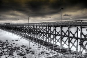 The Pier At Amble Monochrome