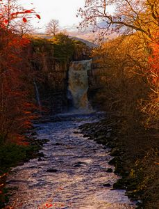 High Force Waterfall At Autumn