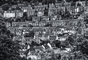 Houses On The Hill Monochrome