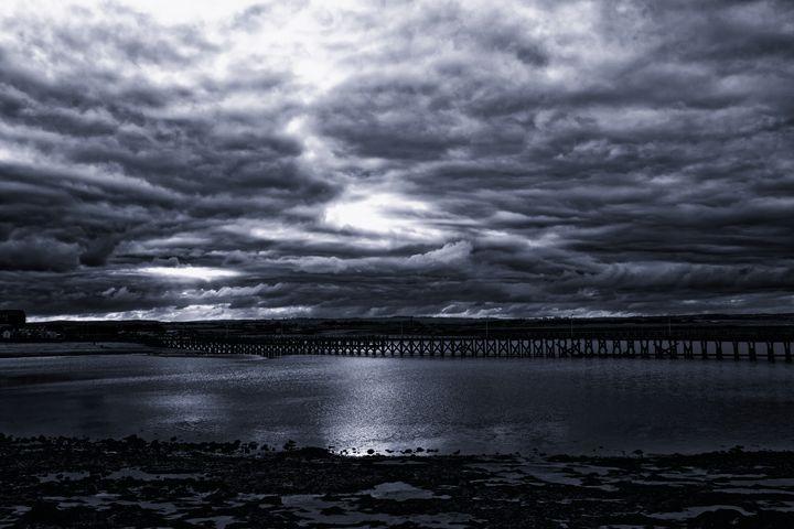 Amble Pier At Night Monochrome - JT54Photography