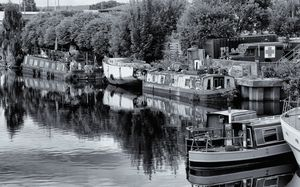 Barges On The Calder Monochrome