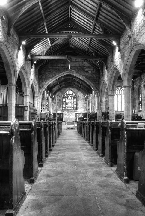 St Nicholas Church Interior Monochro - JT54Photography