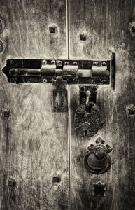Bolt And Padlock Monochrome