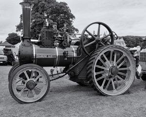 Steam Traction Engine Monochrome
