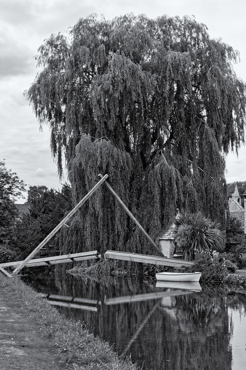 Willow Boat and Bridge Monochrome - JT54Photography