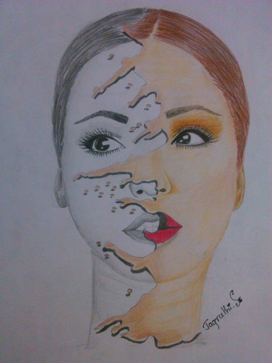 BNW face with shades - Jagruthi's color pencil art