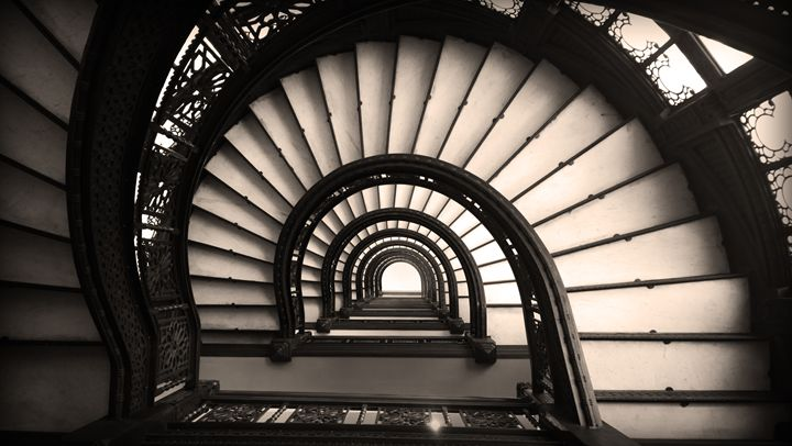 The Rookery Staircase in Sepia - Kelly Hazel