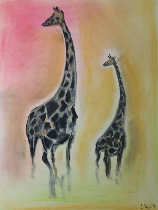 Giraffes on a Savanna - Jim's Art Spot