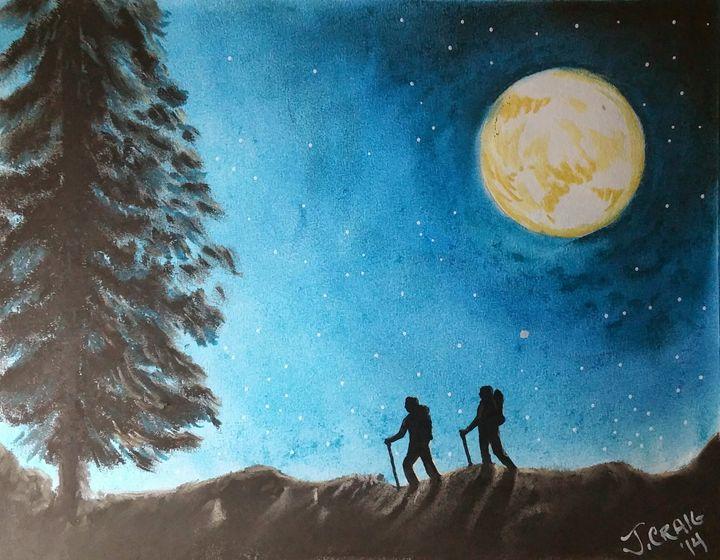 Hikers on a Starry Night - Jim's Art Spot