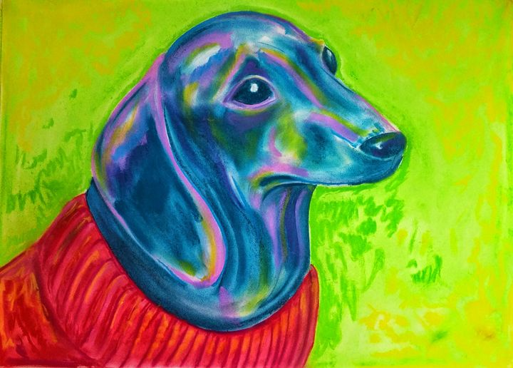 Dachshund in a Red Sweater - Jim's Art Spot