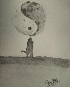 Couple sketch under martialarts moon