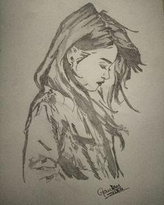 Black sketch of sad girl