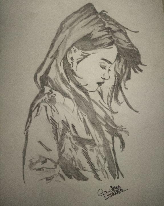 Black sketch of sad girl - Artistgautam