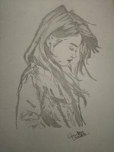 Sad girl black art