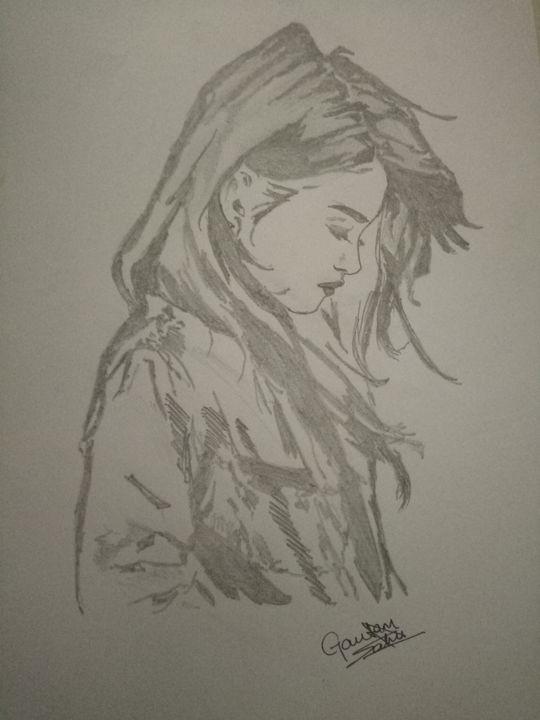 Sad girl black art - Artistgautam