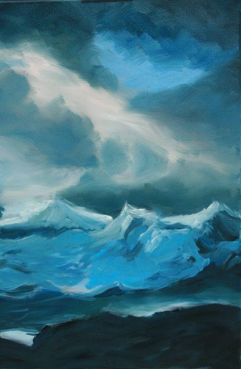 vagues sous un ciel chargé (étude) - Jean-marie Nicol